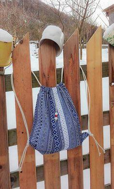 BackPack/Batoh/Vak - modro - biely folk cifrovaný / LuJo - SAShE.sk - Handmade Batohy Bucket Hat, Folk, Backpacks, Hats, Fashion, Moda, Bob, Popular, Hat