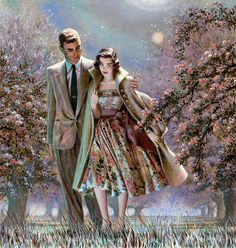 "Edwin Georgi    Romantic stroll among the apple blossoms. However, it must be cool, as she has his overcoat on. But it seems she is enjoying the moment anyway. This painting illustrated the story ""Remember Apple Blossom"" in Redbook magazine in May 1955."
