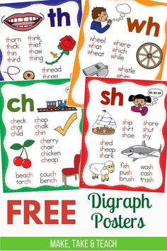 FREE Digraphs Posters – Make Take & Teach These free digraph posters are helpful when teaching and practicing words containing sh, ch, th and wh. Great for first grade and second grade literacy centers! Teaching Phonics, Phonics Activities, Teaching Reading, Phonics Reading, Teaching Ideas, Reading Help, Teaching Spanish, Reading Activities, Guided Reading