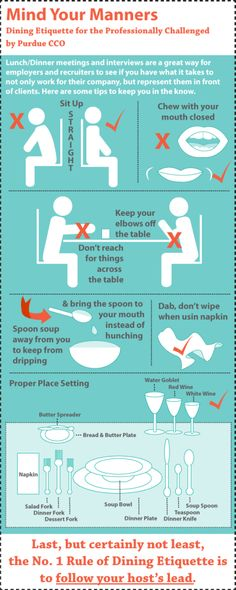 Dining Etiquette for the Professionally Challenged. Learn about some basic dining manners from this infographic. Dinning Etiquette, Etiquette Dinner, Planning Menu, Good Manners, Good Table Manners, Manners For Kids, Etiquette And Manners, Tips & Tricks, Things To Know