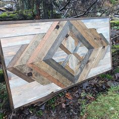 Items similar to Rustic Modern Geometric Style Wood Pattern Wall Art on Etsy Reclaimed Wood Wall Art, Wooden Wall Art, Wooden Diy, Wood Art, Wall Wood, Reclaimed Dining Table, Wood Walls, Wooden Pallet Furniture, Rustic Furniture