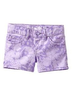 Floral denim shortie shorts in many colors at the Gap Kids