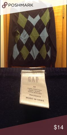 Gap men's sweater Blue and green GAP argyle sweater GAP Sweaters V-Neck