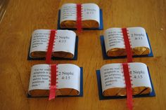What a lovely Easter idea.  Little scripture books made from Hershey Nuggets and bits of paper and ribbon.