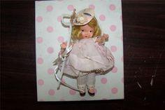 "NANCY ANN Storybook Doll LITTLE BO PEEP Bisque 5.5"" PUDGY Box Wrist Tag #153"
