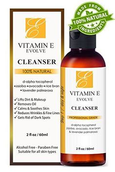 100 Natural Vitamin E Facial Cleanser Best ever face wash for dry to oily skin Antiacne  antiblemish clearing cleansers better than soap Hypoallergenic face cleaner perfect for sensitive skin ** Read more reviews of the product by visiting the link on the image.
