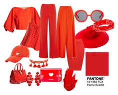 """""""Flame Scarlet"""" by maafee18 on Polyvore featuring moda, TIBI, Preen, Gucci, Maybelline, claire's, Dolce&Gabbana, Chan Luu, Love Moschino e Sans Souci"""