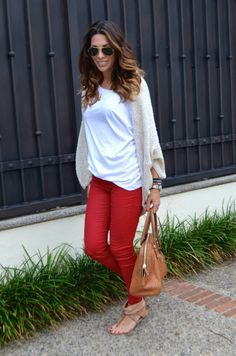 Fux leather red pants and T-Shirt