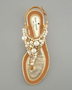 kate spade pearl beach sandals shoes flats would be adorable wedding shoes Crazy Shoes, Me Too Shoes, Pearl Sandals, Flat Sandals, Pearl Shoes, White Sandals, Gold Sandals, Strappy Sandals, Shoes Sandals