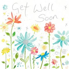 Get Well Soon (W121) Floral Greetings Card by Lyn Thompson, features Silver Foil http://www.thewhistlefish.com/product/get-well-soon-greeting-card-by-lyn-thompson