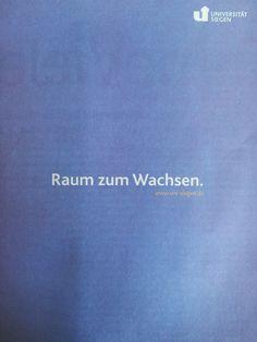 Uni Siegen: Nennen wir es Purismus ;-)  Anzeige aus der Beilage der Mediengruppe M. DuMont Schauberg zur Eröffnung der Leopoldina in Halle (Saale).