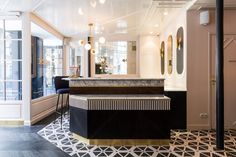 patterned tile floor in black and white: Hotel Panache Paris Pattern On Pattern Design Hotel Dorothée Meilichzon