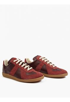 Maison Margiela Red Leather and Suede REPLICA Sneakers | oki-ni
