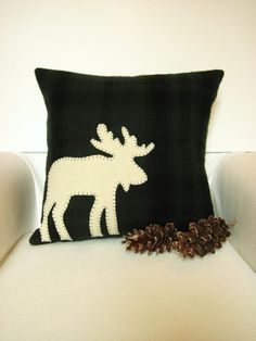 Woodland Moose Pillow by Away Up North at etsy.com #decorativepillow #maineteam #moose