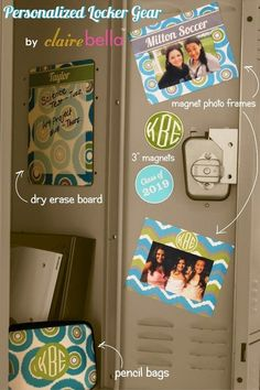 Personalized Locker Accessories - The COOLEST mos EPIC locker decorations EVER from @clairebella available at CarolinaClover.com a Premier Clairebella Retailer.