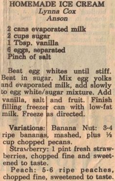 Ingredients: 2 cans evaporated milk, 2 cups sugar, 1 Tbsp. vanilla, 6 eggs, separated, Pinch of salt.