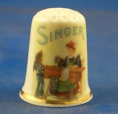 Fine China Thimble Singer Sewing Lady | eBay