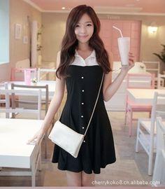 Korean Fashion Single-Breasted Lapel Dress