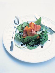 instead of the classic prosciutto with melon... peaches wrapped in prosciutto