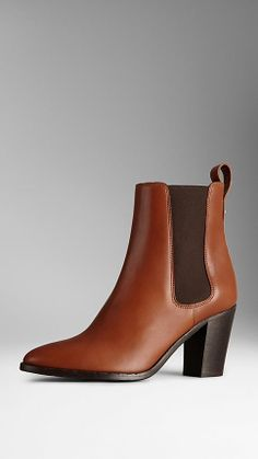 Polished Leather Ankle Boots   Burberry