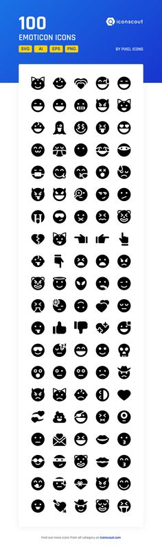 Emoticon   Icon Pack - 100 Solid Icons
