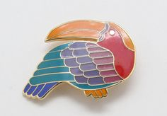 Laurel Burch Goldtone Vintage Chunky Red Enamel Bird Brooch Pendant #LaurelBurch #Unavailable
