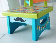 Circus themed stool with a glitter mustache