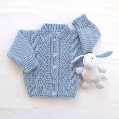 Knitted blue baby cardigan  Baby knit sweater  0 by LurayKnitwear