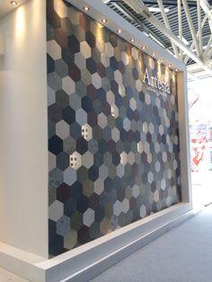 Cersaie 2014 Floor Design, Wall Design, Feature Tiles, Hexagon Tiles, Commercial Interiors, Home Hacks, Grey Walls, Honeycomb, Wall Tiles