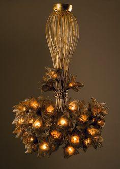 Handmade 35 Net Metal flowers ,Ceiling Light Chandelier. $977.24