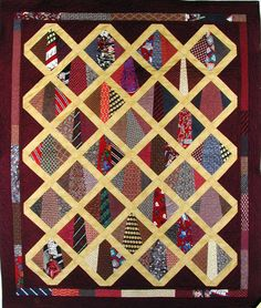 Unique way to use Men's ties in a quilt. Would be a great idea for ... : necktie quilt patterns - Adamdwight.com