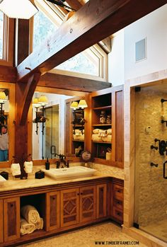 Timber frame bathrooms - change the cabinets and light fixtures