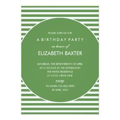 Fabulous Stripes General Party Invitation (Green)