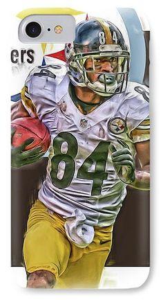 Antonio Brown IPhone 7 Case featuring the mixed media Antonio Brown Pittsburgh Steelers Oil Art 4 by Joe Hamilton