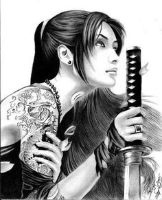 Samurai Girl by SavirOigres - - Geisha Tattoos - Japanese Drawing, Japanese Tattoo Art, Japanese Art, Japanese Warrior Tattoo, Samurai Girl, Samurai Warrior, Female Samurai Tattoo, Geisha Kunst, Geisha Art