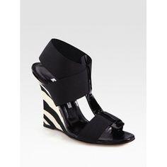 Manolo Blahnik Elastic And Leather Zebra-Print Wedge Sandals