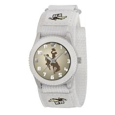 """Wyoming Cowboys Youth White Unisex Watch by Game Time. $24.95. Kids & Toddlers. Maximum Wrist Size 6"""". Officially Licensed Wyoming Cowboys Youth White Watch. Stainless Steel Back/Velcro Strap. Water/Shock Resistant. Wyoming Cowboys youth watch. Watch features a stainless steel back with adjustable Velcro strap. Developed with Japan Quartz Accuracy. Glow-In-the-Dark hands and numbers to make watch easy to read. Water and shock resistant and has a Limited lifetime ..."""