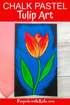 This chalk pastel tulip art project is a great spring activity that kids will love to create! Kids will learn about using glue as a resist technique and layering and blending pastels to create a stunning piece of art. Chalk Pastel Art, Oil Pastel Art, Chalk Pastels, Chalk Art, Pastel Artwork, Clay Art Projects, Craft Projects For Kids, Painting For Kids, Art For Kids