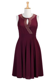 Sequin Trim Crepe Dresses, Festive Plus Size Dresses Shop | eShakti.com