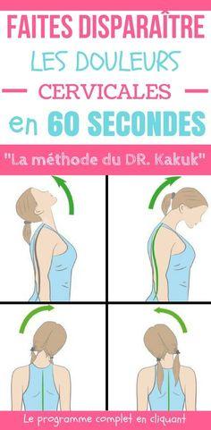 La douleur cervicale (ou douleur du cou) est l'une des douleurs les plus fréquentes. Nous souffrons tous de raideurs au niveau du cou de temps en temps, c'est comme ça ! Cette condition est caractérisée par des muscles du cou endoloris. Voici des exercices pour lutter contre les douleurs cervicales en 60 secondes. Selon Allyn Kakuk, physiothérapeute du bien-être à la Mayo Clinic, il existe une routine très simple pour vous débarrasser des douleurs du cou. #santé #chasseursdastuces #astuces Acupressure, Hiit, Affirmations, Massage, Health Fitness, Exercise, Sports, Voici, Comme