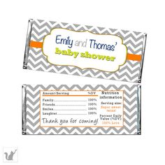 Chevron Grey Orange Green Baby Shower Candy Bar Wrappers Label - Printable Party Favors Personalized Baby Shower Party Candy Labels