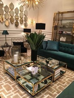 Interior Design Project Brings Nature Inside This New York Apartment The living room is one of the most crucial and important spaces in every house, in this article you'll find inspiring living room decor, som Living Room Interior, Home Living Room, Home Interior Design, Living Room Designs, Living Room Furniture, Modern Interior, Gold Interior, Living Room Decor Green, Black And Gold Living Room