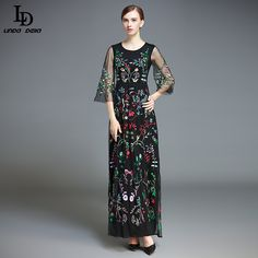 Women's Flare Sleeve Black Vintage Floor Length Floral Voile Embroidery Long Dress $90.08 => Save up to 60% and Free Shipping => Order Now! #fashion #woman #shop #diy www.clothesdeals....
