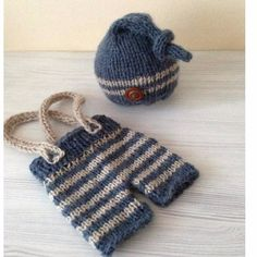 Baby Shower Gift Newborn Baby Photography Props Infant Knit Crochet Costume Blue Striped Soft Outfits Button Beanie pants BH70