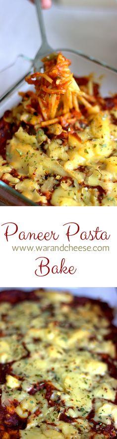 A simple easy pasta bake that uses paneer instead of beef.