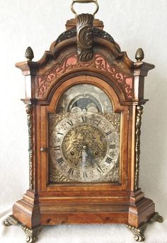 On eBay This Very Rare & Beautiful Unique Dutch Amsterdam Walnut Bracket Clock, 54 cm High