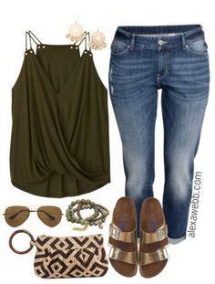 Plus Size Wrap Top & Boyfriend Jeans Outfit - Plus Size Outfit Idea - Plus Size Fashion - alexawebb.com