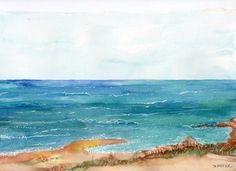 Seascape Original Watercolor Painting by SharonFosterArt on Etsy, $40.00