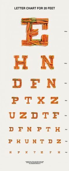 Carrot Eye Chart - food styling by Nicole Heffron ~ Taste: The Food Photography of Henry Hargreaves Photo via Design Milk Food Typography, Typography Letters, Typography Design, Eye Chart, Food Photography Tips, Conceptual Photography, Food Words, Food Design, Food Styling