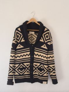 Ralph Lauren Denim & Supply Knit Shawl Collar Sweater. Geometric Pattern. The thick cotton knitting will keep you warm on those chilly Fall evenings. Would look great on guys, and gals. This is a deadstock item. If you are looking for stylish, high quality, hard to find items follow APT-SHOP, or add us to your favorite seller for updates.  #nativeamerican #ralphlauren #shawlcollarsweater